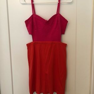 Cutout dress with color block